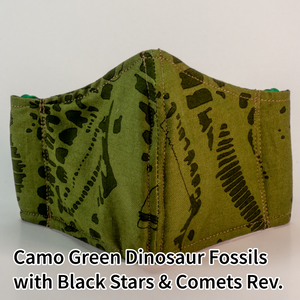 Camo Green Dinosaur Fossils with Black Stars and Comets Reverse - Wee Size