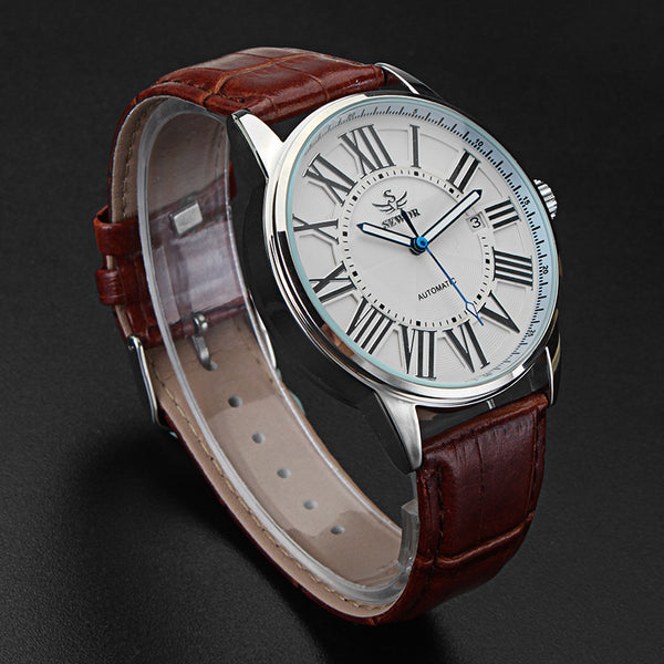 SEWOR Calendar Automatic Mechanical Watch Simple Style Analog Display Men Wrist Watch - DealsNode