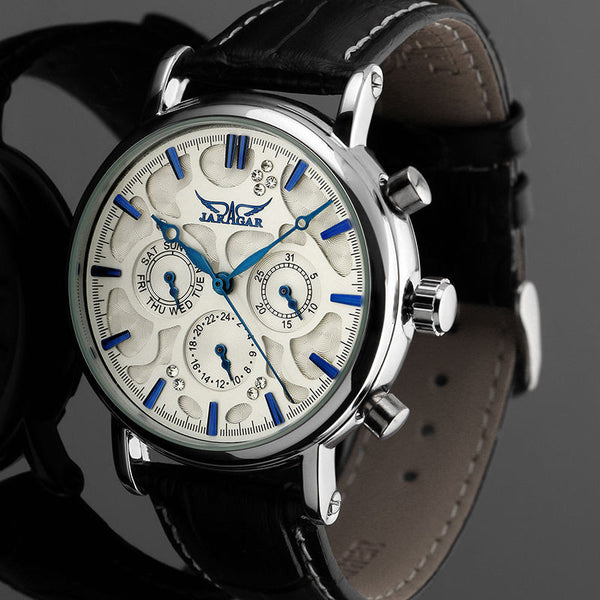 JARAGAR F120545 Fashion Automatic Mechanical Watch Multifunction Leather Strap Men Wrist Watch - DealsNode