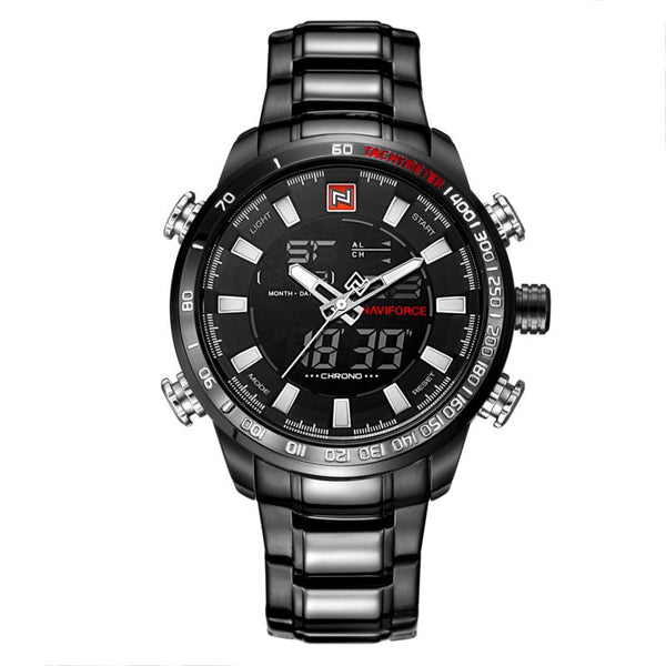 NAVIFORCE NF9093 Fashion Men Dual Display Watch Multifunction Stainless Steel Quartz Watch - DealsNode