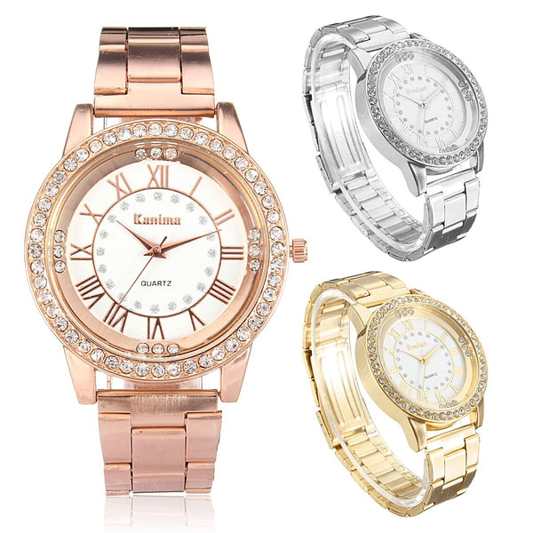 Men Women Crystal Rhinestone Plated Stainless Steel Analog Quartz Wrist Watch With Logo - DealsNode