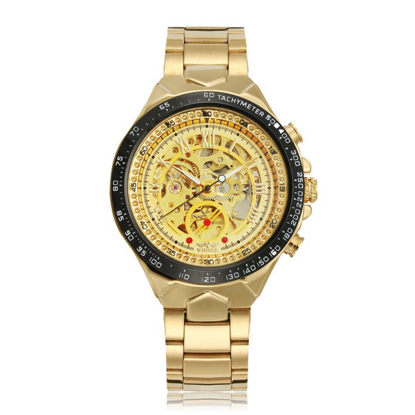 WINNER Fashion Shining Roman Numerals Mechanical Watch Luxury Golden Men Automatic Watch - DealsNode