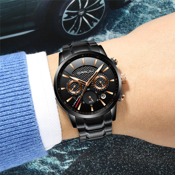 CRRJU 2212 Waterproof Calendar Men Watches Fashionable Stainless Steel Strap Quartz Watch - DealsNode