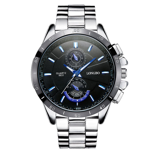 LONGBO 8833 Men Watch Luminous Stainless Steel Fashion Casual Quartz Wrist Watch - DealsNode
