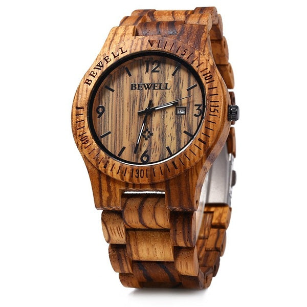 BEWELL ZS-W086B Men Natural Wooden Auto Calendar Display Fashion Quartz Wrist Watch - DealsNode
