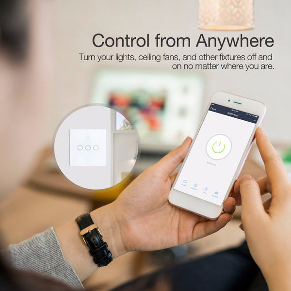 Smart Switch 1/2/3 Gang Wifi Light Switch Work with Alexa Google Home Smart Home Touch Switch Panel Wall Light Controller - DealsNode