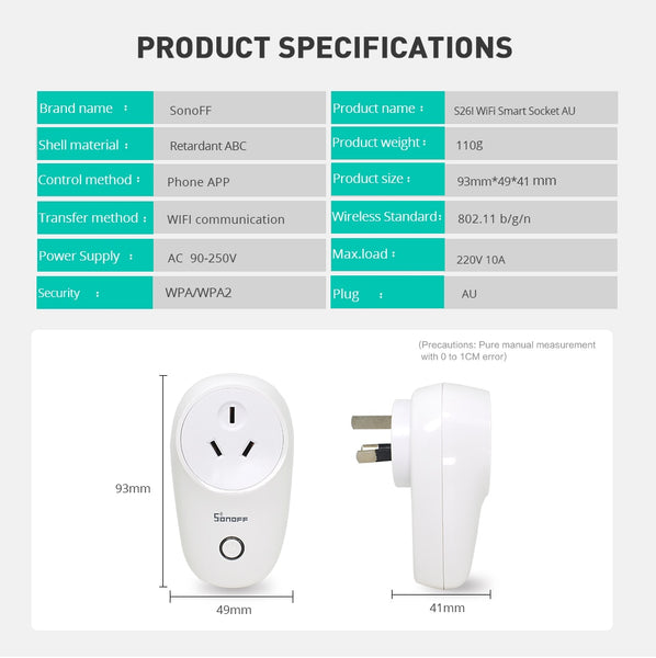 Sonoff S26 Basic WiFi Smart Socket AU/CN/EU/UK/US Wireless Plug Smart Home Switch Power Sockets Work With Alexa Google Assistant - DealsNode