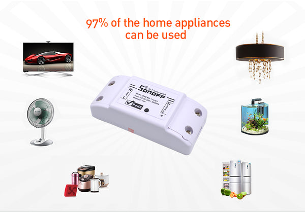SONOFF Basic Wireless Wifi Switch Remote Control Automation Module DIY Timer Universal Smart Home 10A 220V AC 90-250V - DealsNode