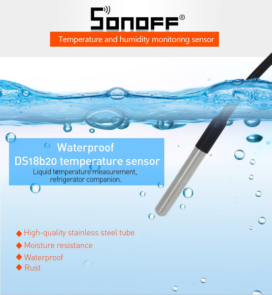 SONOFF TH10 TH16 Switch and Sensor Ds18b20 Waterproof Probe Wifi Temperature Monitoring Remote Wireless Monitor For Smart Home - DealsNode