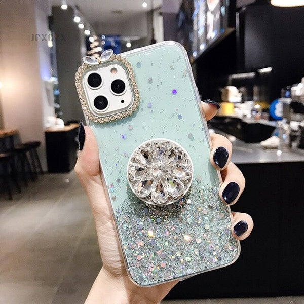 Glitter marble diamond ring holder silicone phone case for iphone & samsung - DealsNode