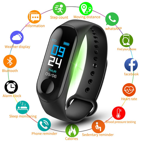 M3 Plus Smart Bracelet Heart Rate Blood Pressure Health Waterproof Smart Watch M3 Pro Bluetooth Watch Wristband Fitness Tracker - DealsNode