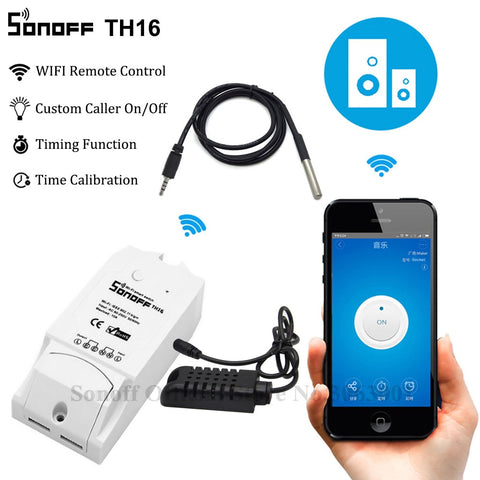 Sonoff TH16 Smart Wifi Switch Monitoring Temperature Humidity Wifi Smart Switch Home Automation Kit Works With Alexa Google Home - DealsNode