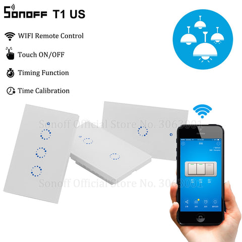 Sonoff T1 US Smart Wifi Wall Light Switch 1 2 3 Gang Touch/WiFi/315 RF/APP Remote Smart Home Wall Touch Switch Works with Alexa - DealsNode