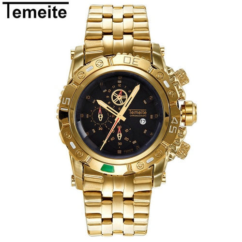 TEMEITE Creative Golden Men Quartz Wristwatches - DealsNode