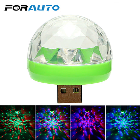 FORAUTO Car LED Decorative Lamp Mini RGB Atmosphere Light Auto Interior LED USB Club Disco Magic Stage Effect Lights Car Styling - DealsNode