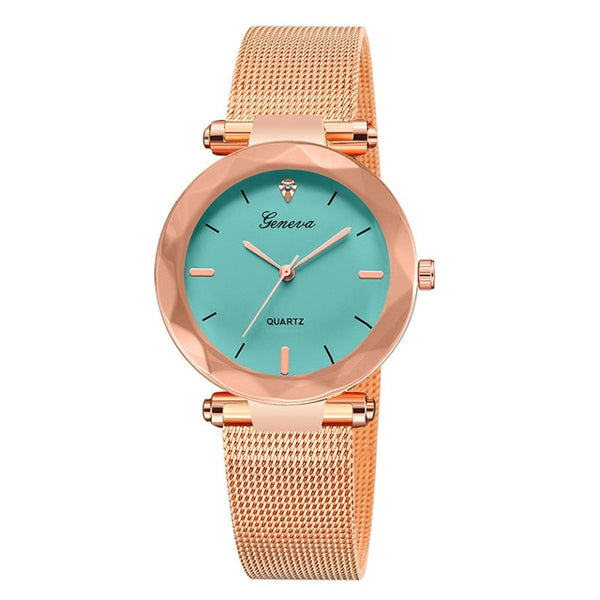 Luxury Rose Gold Women Watches Crystal Female Stainless Steel Mesh Quartz Wrist Watch - DealsNode