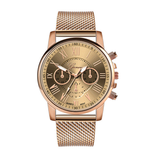 Women Stylish Casual Luxury Quartz Sport Military Stainless Steel Dial Band Wrist Watch Wrist Watch - DealsNode