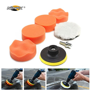 "7pcs 3"" Car Sponge Polishing Pad Set Polishing Buffer Waxing Adapter Drill Kit for Auto Body Care Headlight Assembly Repair - DealsNode"