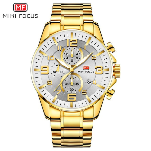 MINI FOCUS Golden Mens Watches Multifunction Fashion Wristwatch Waterproof - DealsNode