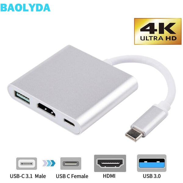Baolyda USB C Dock HDMI Type C to HDMI Hub Adapter 4K USB C Multiport Adapter USB C Converter for MacBook/Chromebook Pixel/Dell - DealsNode