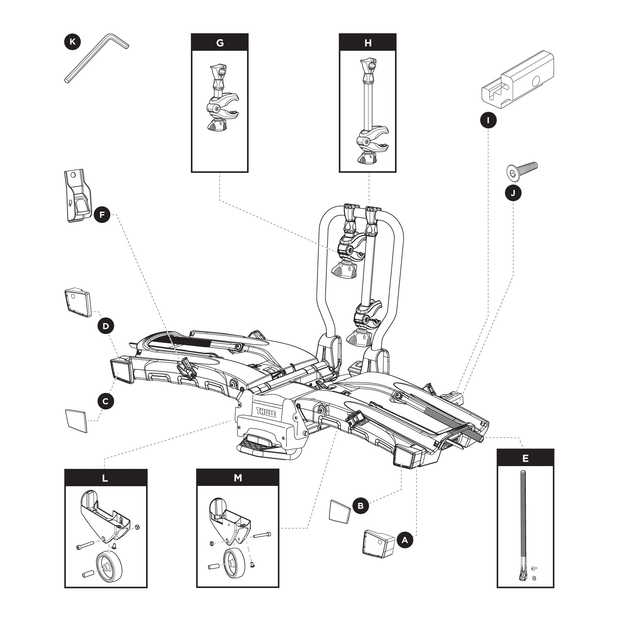 Thule 903202 EasyFold XT 2 Spare Parts RD | CarRackParts.com
