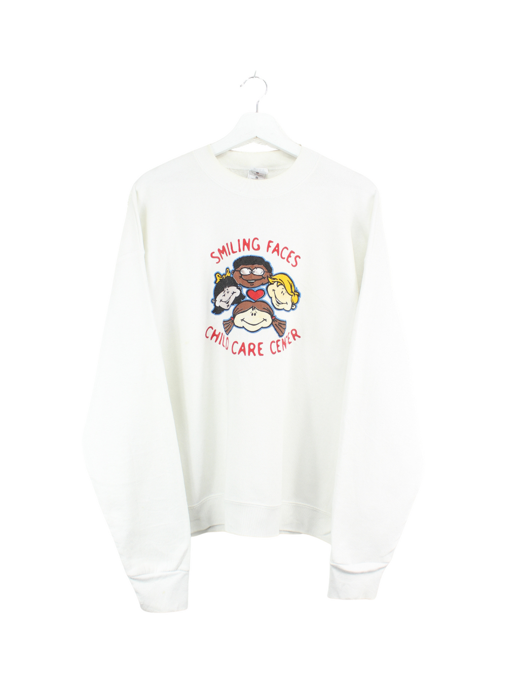 Smiling Faces Print Sweater Weiß L