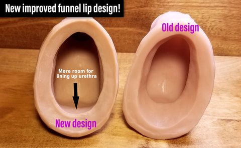 Image shows how new funnel design allows for more room to line up your urethra.