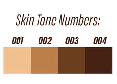4 skin tones lightest to darkest 001, 002, 003, 004