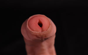 Close up of pee hole on Jimmy STP uncut.