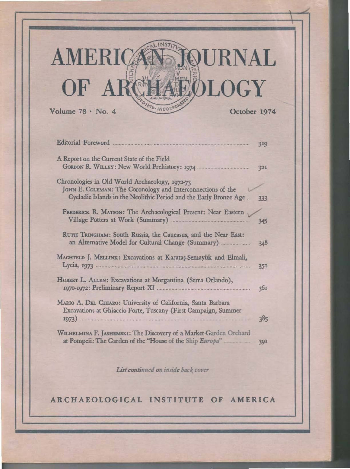 American Journal of Archaeology Vol. 78  No.4 - Sands of Time Ancient Art