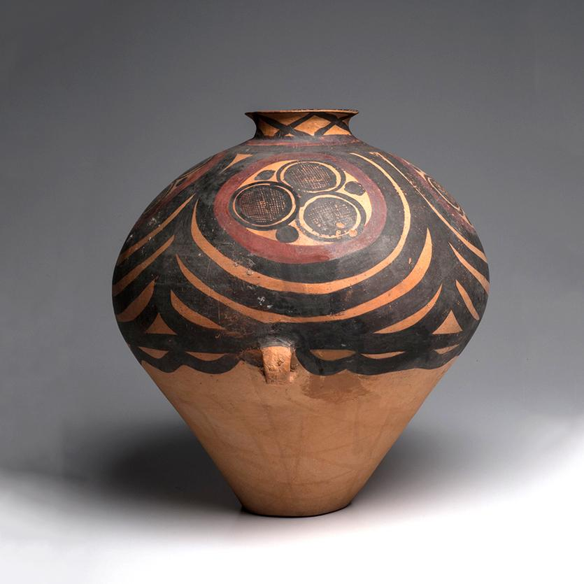 * A Large Chinese Neolithic Painted Pottery Jar, Majiayao Yangshao Culture, Ma-chang phase, circa 2300-2000 B.C.
