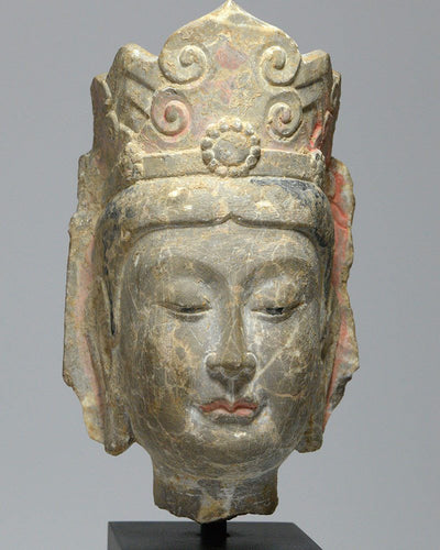 A Chinese veined marble head of a Bodhisattva, Northern Qi Dynasty, 550-577 AD - Sands of Time Ancient Art