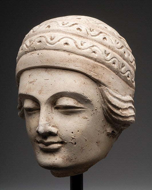 A fine Gandhara Stucco Male Head of a Devotee, 2nd - 3rd century AD - Sands of Time Ancient Art