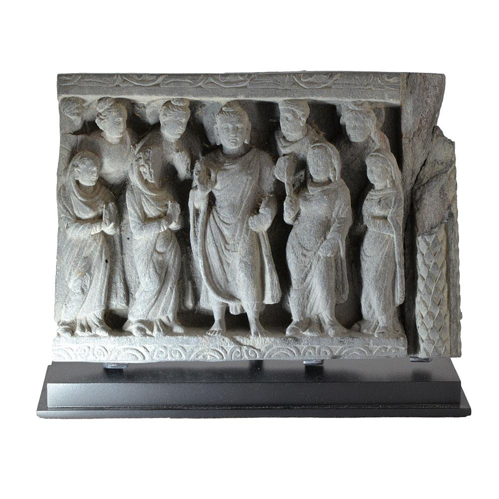 A Gandhara Frieze with Buddha and Acolytes, Kushan Period, ca. 2nd-3rd Century AD - Sands of Time Ancient Art