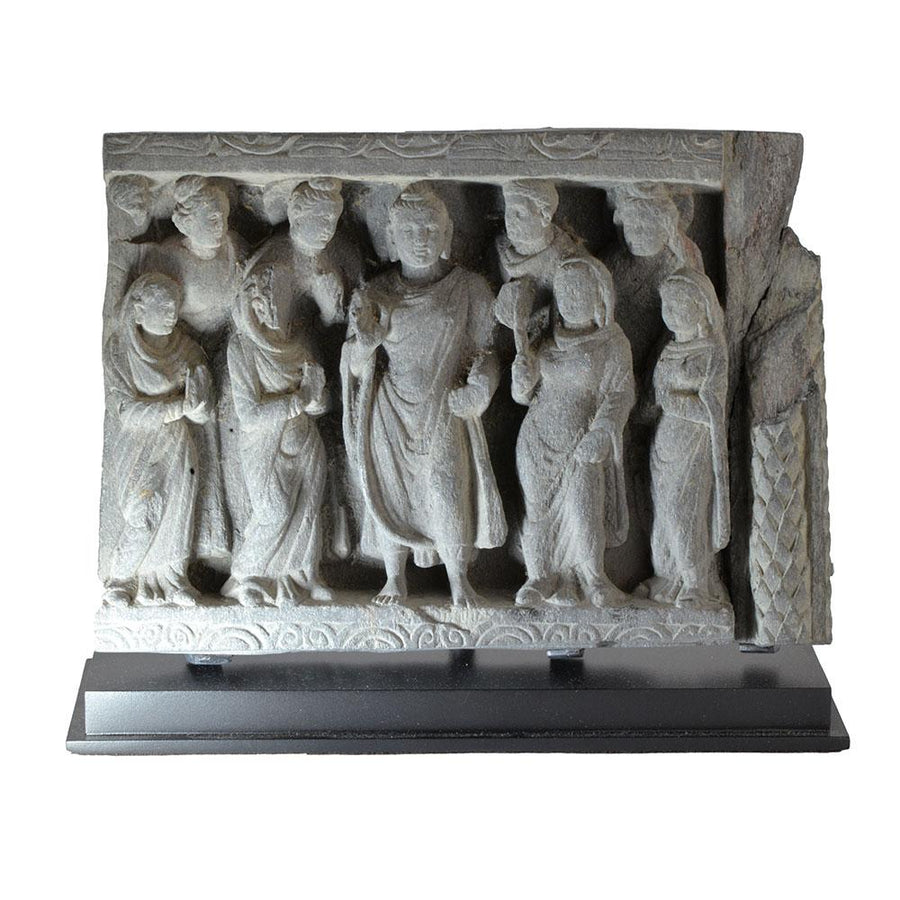 A Gandhara Frieze with Buddha and Acolytes, Kushan Period, ca. 2nd-3rd Century AD