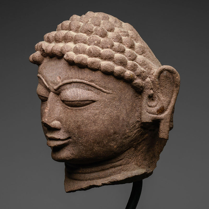 A mottled red sandstone head of a Jina, India, 11th/12th century CE - Sands of Time Ancient Art