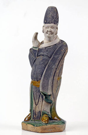 A Chinese Polychrome-Glazed Attendant, Ming Dynasty, ca 1368-1644 AD - Sands of Time Ancient Art