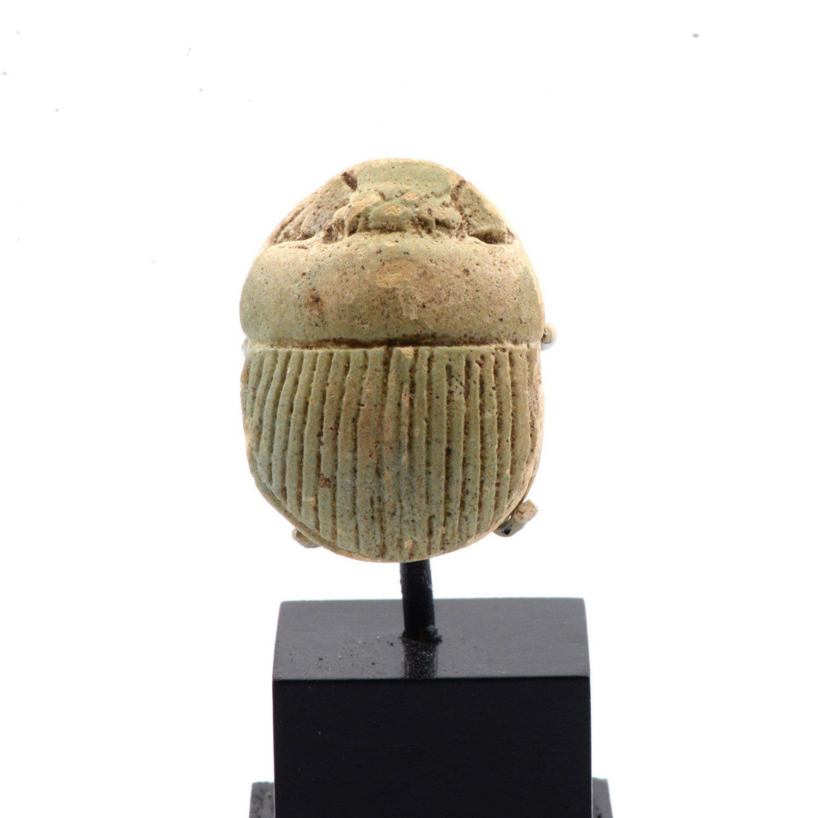 A large Egyptian Pale Green Glazed Scarab, Late Period, Dynasty 26, ca. 664 - 525 BCE - Sands of Time Ancient Art