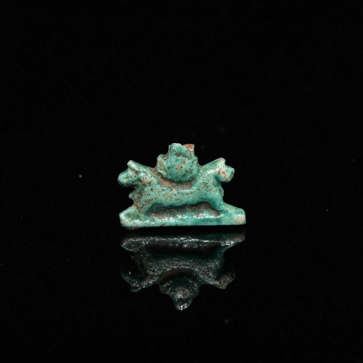 A Rare Egyptian Faience Amulet for Aker, Late Period, ca 664-332 B.C.