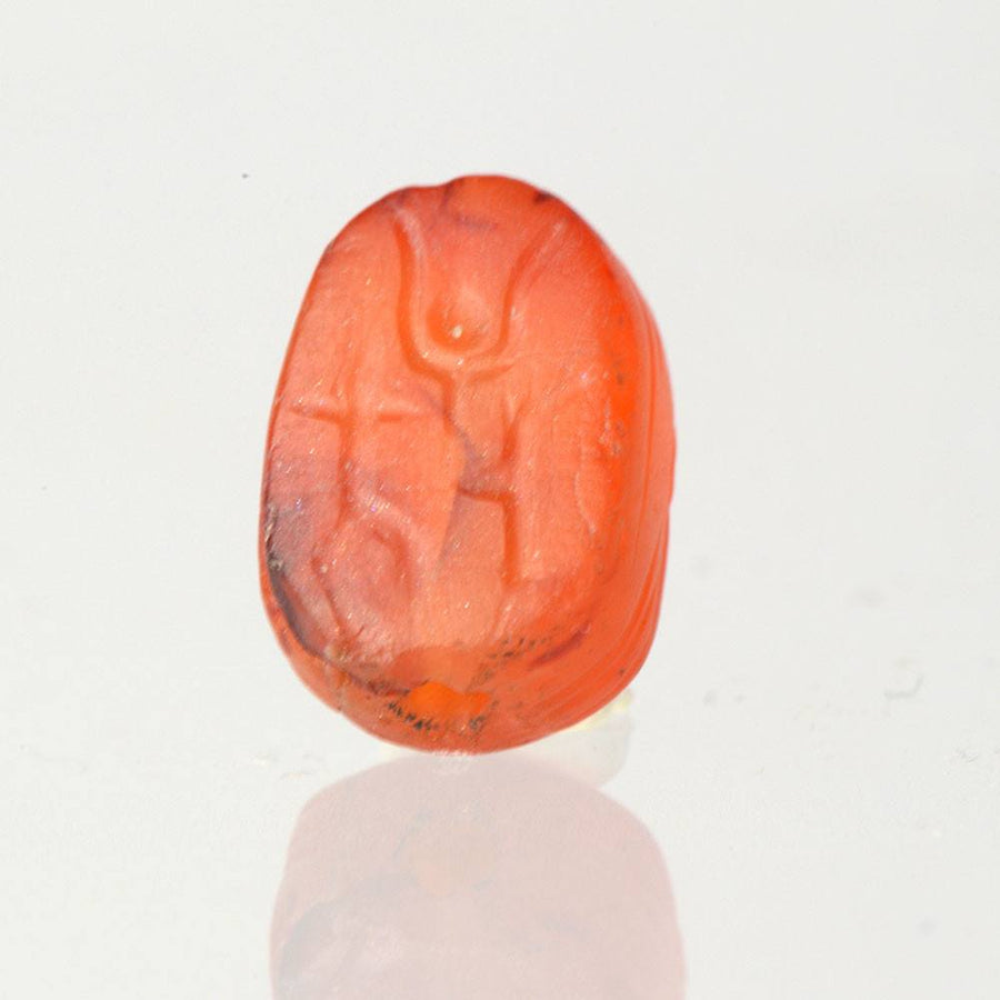 "* An Egyptian Carnelian ""New Year"" Scarab, 18th  Dynasty, ca. 1550-1295 BC"