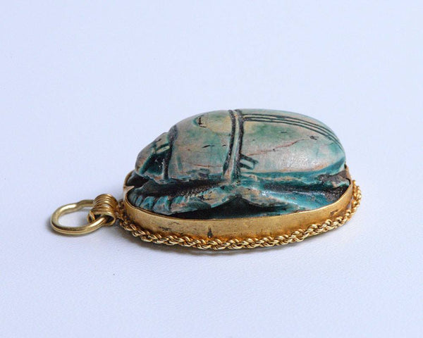 A large Egyptian Glazed Steatite Scarab, Middle Kingdom, Dynasty 12, 1939-1760 BC - Sands of Time Ancient Art