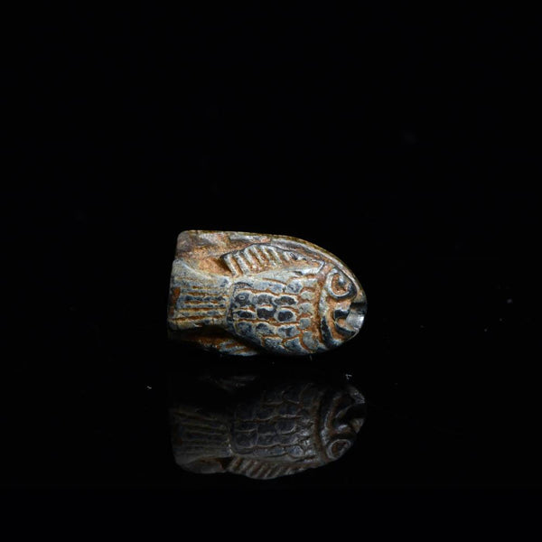 A royal Egyptian Steatite Fish Amulet, 18th Dynasty, reign of Thutmose III, ca. 1479-26 BCE