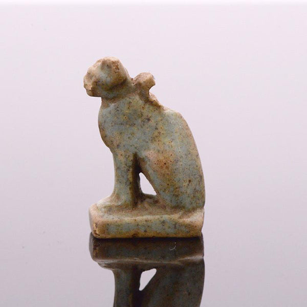* A fine Egyptian Faience Amulet of a Cat, New Kingdom, ca. 1550-1069 BC - Sands of Time Ancient Art