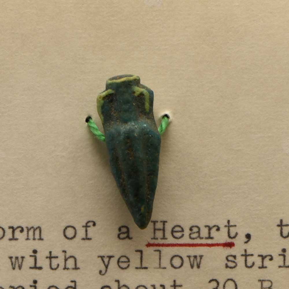 An Egyptian Faience Amulet of a Heart Vase, Roman Period, ca. 30 BCE - Sands of Time Ancient Art