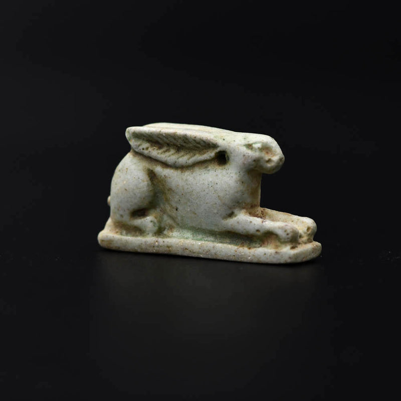 An Egyptian Faience Amulet of a Hare, Late Period, Dynasty 26, ca. 664 - 525 BCE