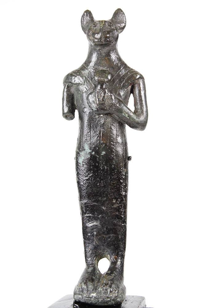 An Egyptian Bronze Figure of Bastet, 21st Dynasty ca. 1069-945 BCE - Sands of Time Ancient Art