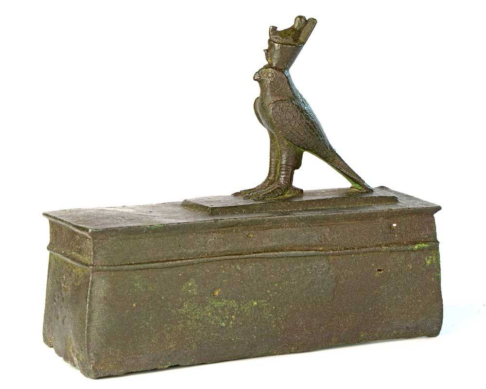 An Egyptian Bronze Horus Falcon on a Sarcophagus, 26th Dynasty, ca. 646-525 BCE - Sands of Time Ancient Art