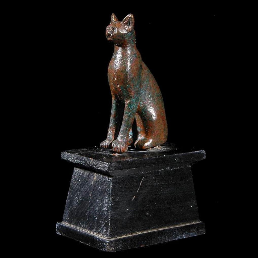 An Egyptian Bronze figure of a Cat, 19th Dynasty, ca. 1295 -1069 BC - Sands of Time Ancient Art