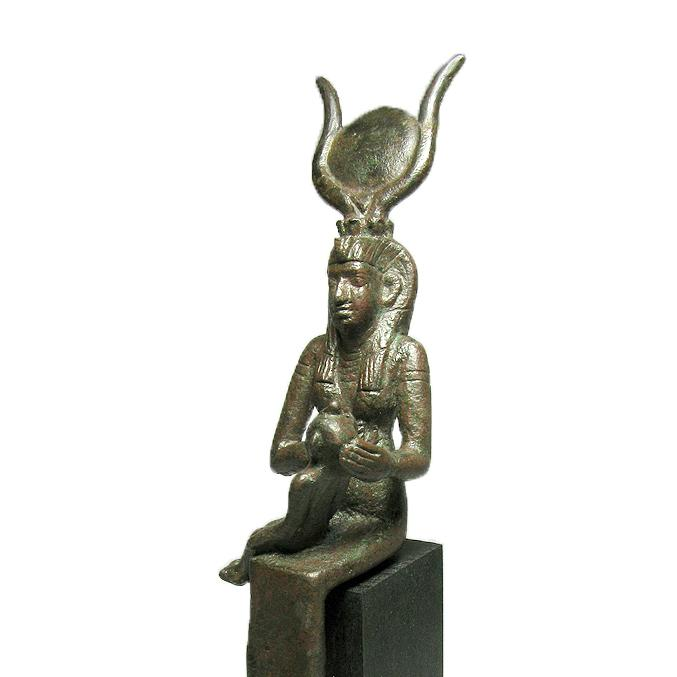 * Music Lovers' Bronze Statuette of Isis & Horus, 26th Dynasty, ca 664 - 525 BC - Sands of Time Ancient Art