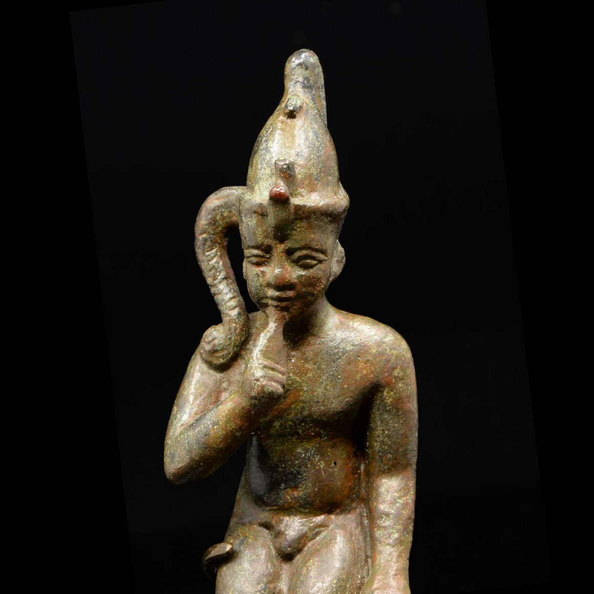 * An Egyptian Bronze Figure of Harpokrates, Saite Period, ca. 664 - 552 BC - Sands of Time Ancient Art